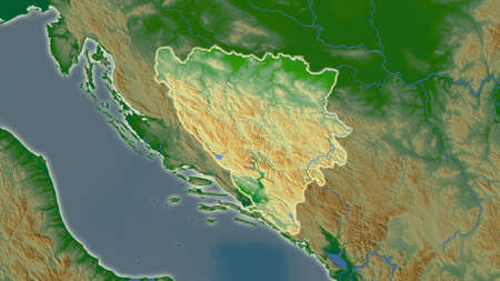 Bosnia And Herzegovina area map in the Azimuthal Equidistant projection. color physical map. Full composition of rasters without borders