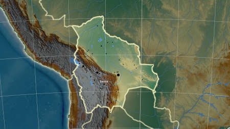 Bolivia area map in the Azimuthal Equidistant projection. topographic relief map. Full composition of rasters with borders, main cities, capital name and graticule