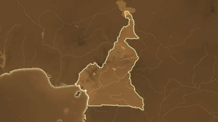 Cameroon area map in the Azimuthal Equidistant projection. tinted elevation shader. Full composition of rasters without borders