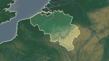 Belgium area map in the Azimuthal Equidistant projection. topographic relief map. Full composition of rasters without borders