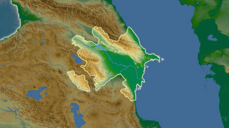 Azerbaijan area map in the Azimuthal Equidistant projection. color physical map. Full composition of rasters without borders