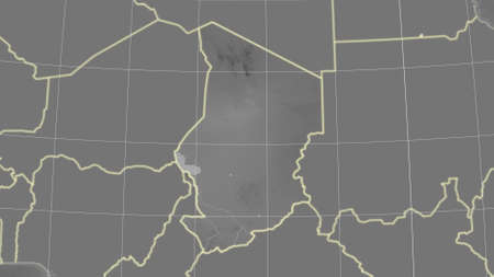 Chad area map in the Azimuthal Equidistant projection. grayscale elevation map. Overlay with clean background, borders and graticule Stockfoto