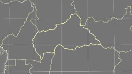 Caf area map in the Azimuthal Equidistant projection. grayscale elevation map. Clean shape with borders and graticule