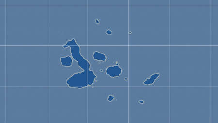 Galapagos Islands area map in the Azimuthal Equidistant projection. shapes only - land/ocean mask. Overlay with clean background, borders and graticule