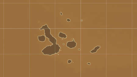 Galapagos Islands area map in the Azimuthal Equidistant projection. tinted elevation shader. Clean shape with borders and graticule Stock Photo