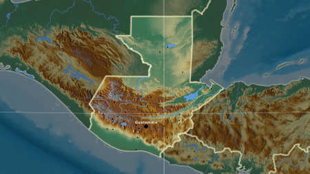 Guatemala area map in the Azimuthal Equidistant projection. topographic relief map. Full composition of rasters with borders, main cities, capital name and graticule