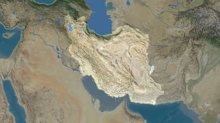 Iran area map in the Azimuthal Equidistant projection. satellite imagery. Full composition of rasters without borders