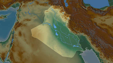 Iraq area map in the Azimuthal Equidistant projection. topographic relief map. Full composition of rasters without borders Imagens