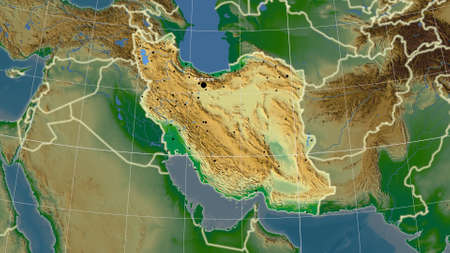 Iran area map in the Azimuthal Equidistant projection. color physical map. Full composition of rasters with borders, main cities, capital name and graticule