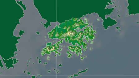 Hong Kong area map in the Azimuthal Equidistant projection. color physical map. Overlay with clean background, borders and graticule