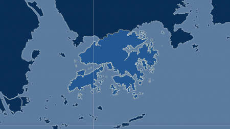 Hong Kong area map in the Azimuthal Equidistant projection. shapes only - land/ocean mask. Overlay with clean background, borders and graticule