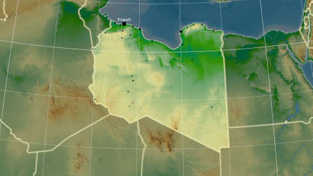 Libya area map in the Azimuthal Equidistant projection. color physical map. Full composition of rasters with borders, main cities, capital name and graticule