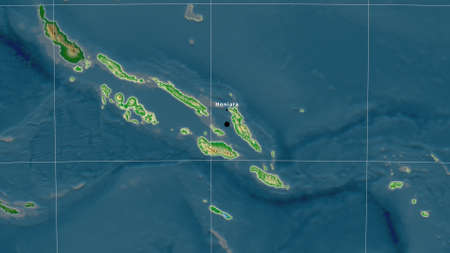 Solomon Islands area map in the Azimuthal Equidistant projection. color physical map. Full composition of rasters with borders, main cities, capital name and graticule Stock Photo