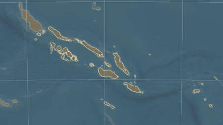 Solomon Islands area map in the Azimuthal Equidistant projection. satellite imagery. Clean shape with borders and graticule Stock Photo