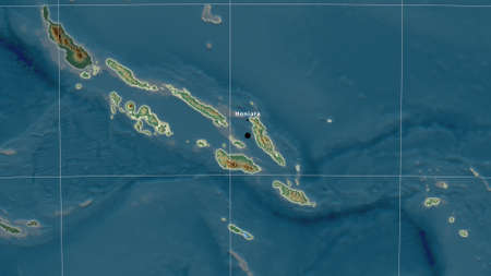 Solomon Islands area map in the Azimuthal Equidistant projection. topographic relief map. Full composition of rasters with borders, main cities, capital name and graticule
