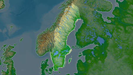 Sweden area map in the Azimuthal Equidistant projection. color physical map. Full composition of rasters without borders