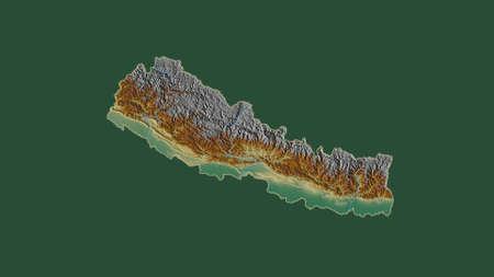 Nepal area map in the Azimuthal Equidistant projection. topographic relief map. Overlay with clean background without borders
