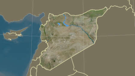 Syria area map in the Azimuthal Equidistant projection. satellite imagery. Overlay with clean background, borders and graticule