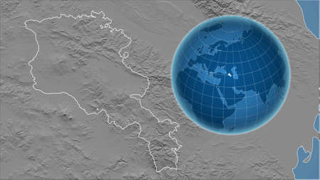 Armenia. Globe with the shape of the country against zoomed map with its outline. grayscale elevation map