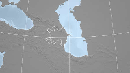 Azerbaijan. Neighborhood - distant perspective with outline of the country. grayscale elevation map Standard-Bild