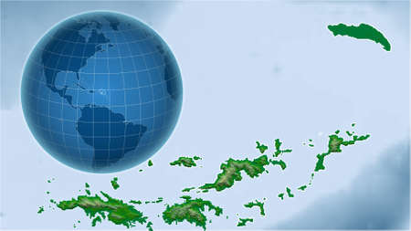 British Virgin Islands. Globe with the shape of the country against zoomed map with its outline. color physical map