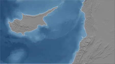 Cyprus. Close-up perspective of the country - no outline. grayscale elevation map Standard-Bild