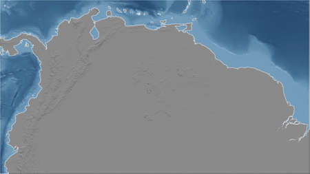 Colombia. Close-up perspective of the country - no outline. grayscale elevation map