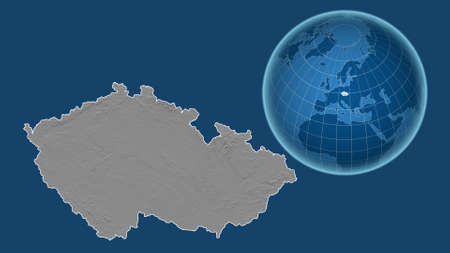 Czech Republic. Globe with the shape of the country against zoomed map with its outline isolated on the blue background. grayscale elevation map Standard-Bild