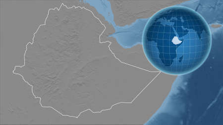 Ethiopia. Globe with the shape of the country against zoomed map with its outline. grayscale elevation map Standard-Bild