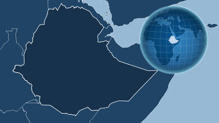Ethiopia. Globe with the shape of the country against zoomed map with its outline. shapes only - land/ocean mask