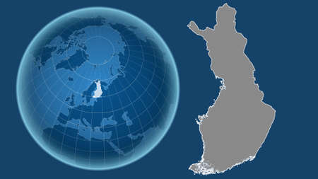 Finland. Globe with the shape of the country against zoomed map with its outline isolated on the blue background. grayscale elevation map