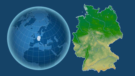 Germany. Globe with the shape of the country against zoomed map with its outline isolated on the blue background. color physical map