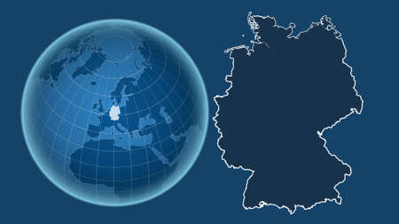 Germany. Globe with the shape of the country against zoomed map with its outline isolated on the blue background. shapes only - land/ocean mask