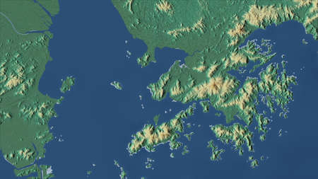 Hong Kong. Close-up perspective of the country - no outline. topographic relief map