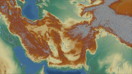 Iran. Close-up perspective of the country - no outline. topographic relief map Stock Photo