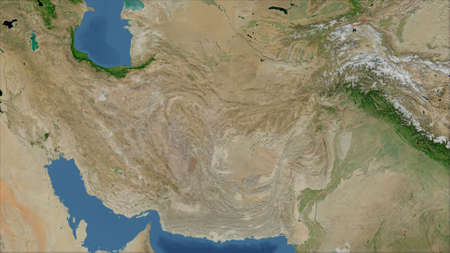 Iran. Close-up perspective of the country - no outline. satellite imagery