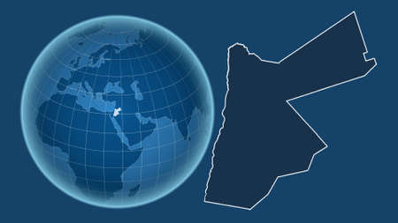 Jordan. Globe with the shape of the country against zoomed map with its outline isolated on the blue background. shapes only - land/ocean mask Stock Photo