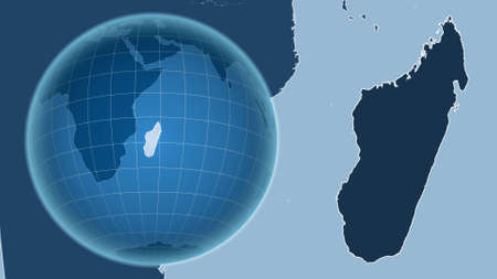 Madagascar. Globe with the shape of the country against zoomed map with its outline. shapes only - land/ocean mask