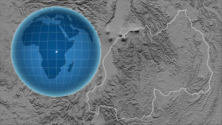 Rwanda. Globe with the shape of the country against zoomed map with its outline. grayscale elevation map