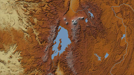 Rwanda. Close-up perspective of the country - no outline. topographic relief map