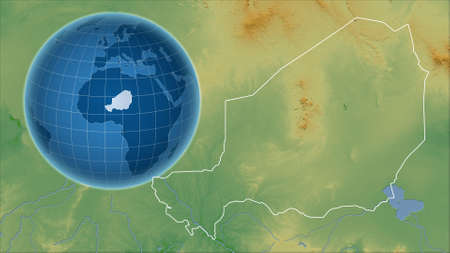 Niger. Globe with the shape of the country against zoomed map with its outline. color physical map