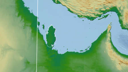 Qatar. Neighborhood - distant perspective with outline of the country. color physical map