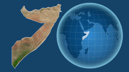 Somalia. Globe with the shape of the country against zoomed map with its outline isolated on the blue background. satellite imagery