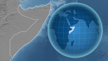 Somalia. Globe with the shape of the country against zoomed map with its outline. grayscale elevation map