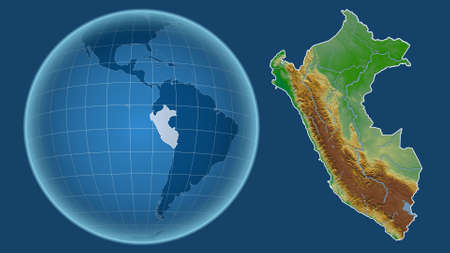 Peru. Globe with the shape of the country against zoomed map with its outline isolated on the blue background. color physical map