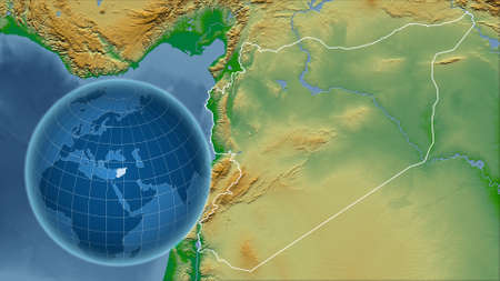 Syria. Globe with the shape of the country against zoomed map with its outline. color physical map