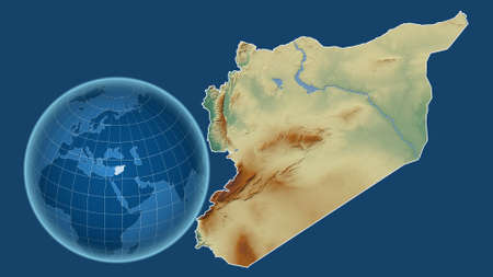 Syria. Globe with the shape of the country against zoomed map with its outline isolated on the blue background. topographic relief map