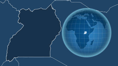 Uganda. Globe with the shape of the country against zoomed map with its outline. shapes only - land/ocean mask Stockfoto
