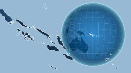 Solomon Islands. Globe with the shape of the country against zoomed map with its outline. shapes only - land/ocean mask Stock Photo