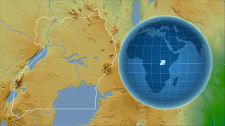 Uganda. Globe with the shape of the country against zoomed map with its outline. color physical map